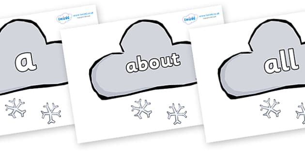 100 High Frequency Words on Weather Symbols (Snow) - High frequency words, hfw, DfES Letters and Sounds, Letters and Sounds, display words