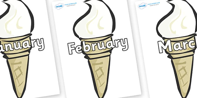 Months of the Year on Ice Creams - Months of the Year, Months poster, Months display, display, poster, frieze, Months, month, January, February, March, April, May, June, July, August, September