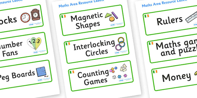 Ireland Themed Editable Maths Area Resource Labels - Themed maths resource labels, maths area resources, Label template, Resource Label, Name Labels, Editable Labels, Drawer Labels, KS1 Labels, Foundation Labels, Foundation Stage Labels, Teaching Lab