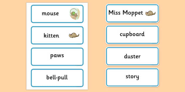 The Story of Miss Moppet Word Cards - story, miss moppet, word cards, word, cards
