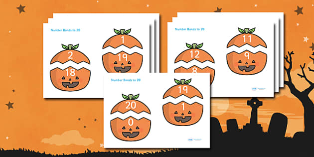 Number Bonds to 20 (on Pumpkins) - Number Bonds, Matching Cards, Number Bonds to 10, Halloween, pumpkin , witch, bat, scary, black cat, mummy, grave stone, cauldron, broomstick, haunted house, potion, Hallowe'en