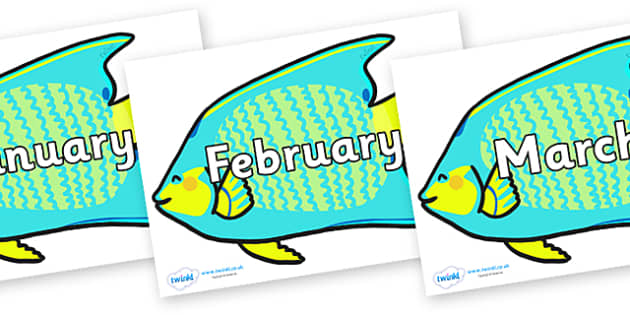 Months of the Year on Angel Fish - Months of the Year, Months poster, Months display, display, poster, frieze, Months, month, January, February, March, April, May, June, July, August, September