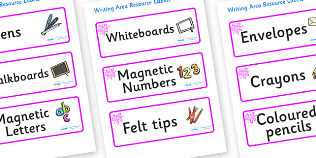 Pink Themed Editable Writing Area Resource Labels - Themed writing resource labels, literacy area labels, writing area resources, Label template, Resource Label, Name Labels, Editable Labels, Drawer Labels, KS1 Labels, Foundation Labels, Foundation S