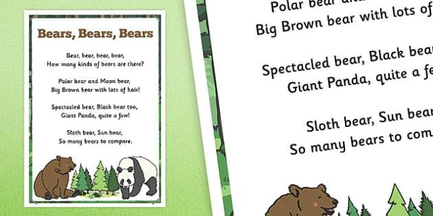 Bears, Bears, Bears Rhyme Poster - bears, rhyme, poster, display