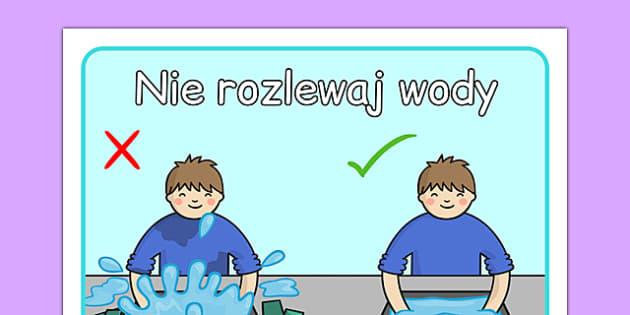 Plakat Nie rozlewaj wody po polsku - przedszkole, łazienka