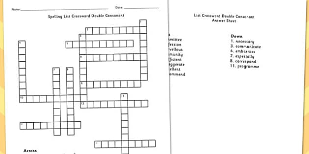 5-6 Spelling List Crossword Double Consonant - spelling