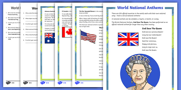 World National Anthems Differentiated Reading Comprehension Activity