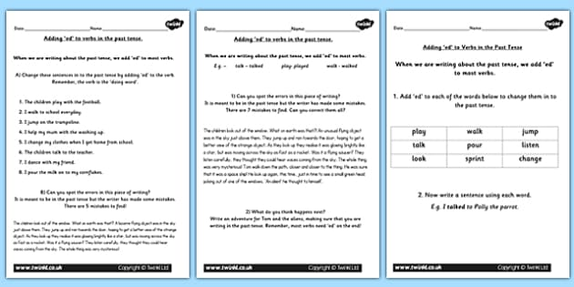 Using the Suffix ed for the Past Tense Lesson Teaching Pack