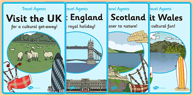 Travel Agent Posters UK Holidays - travel, agents, tourist, tourism, UK, GB, great britain, united kingdom, england, scotland, wales, holiday, holidays, role play