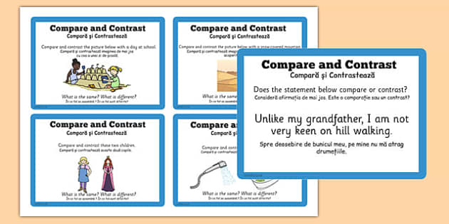 Guided Reading Skills Task Cards Compare and Contrast Romanian Translation - romanian, reading