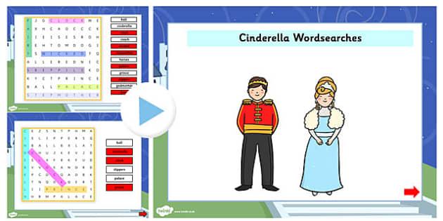 Cinderella Interactive Wordsearch - cinderella, wordsearch, story