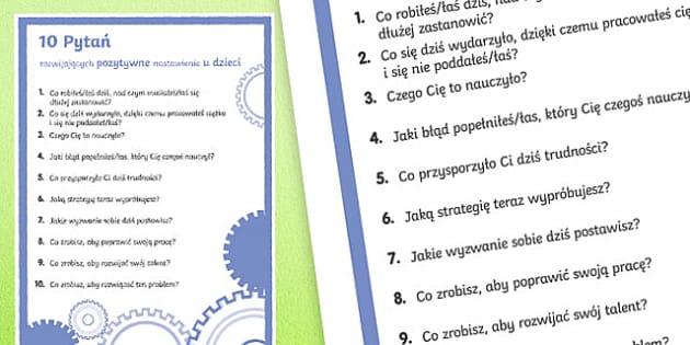 Plakat 10 pytań rozwijających pozytywną postawę po polsku