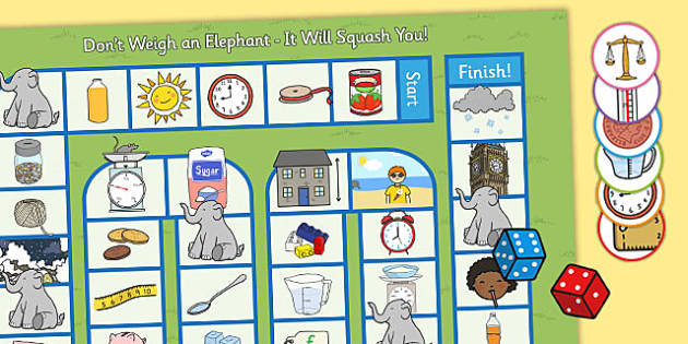 Don't Weigh an Elephant - It Will Squash You! KS1 Measures Game - measures, game