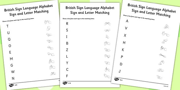 British Sign Language Left Hand Alphabet Sign Letter Match Sheet