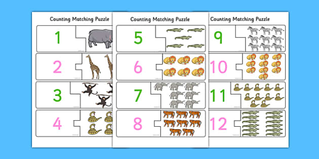 African Themed One to Twelve Counting Matching Puzzle - africa, african, 1-12, counting, matching, puzzle, match