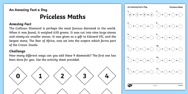 Priceless Maths Activity Sheet, worksheet