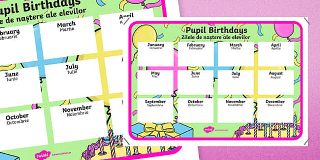 Pupil Birthdays Display Poster Romanian Translation-Romanian-translation