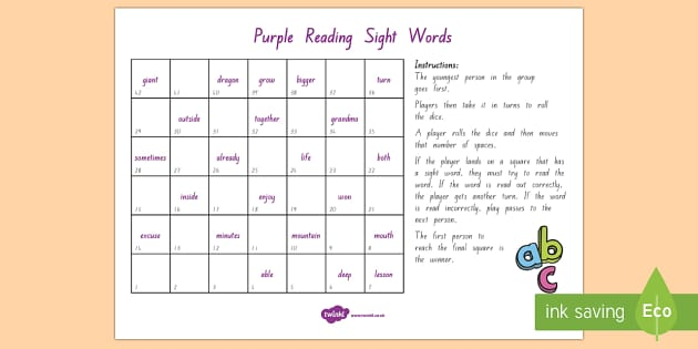 Purple Reading Sight Words Board Game - Literacy, Reading, Purple, Sight Words, Colour Wheel, purple sight words