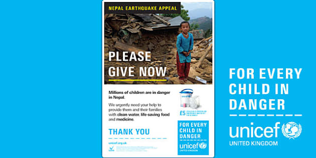 Unicef Nepal Earthquake A4 Poster - unicef, earthquake, poster