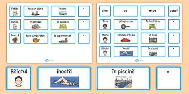 Cartonașe pentru construirea de propoziții, Rutina zilnică