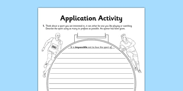 The Prefix in- Application Activity Sheet - GPS, grammar, spelling, punctuation, root word, worksheet