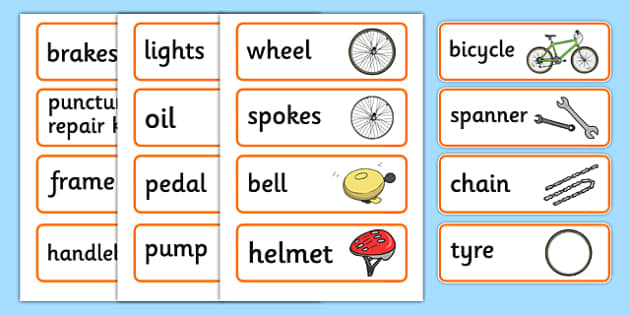 Bicycle Repair Shop Word Cards - Bike repair, bicycle, bikes, word card, flashcards, writing aid, transport, role play, wheels, tyres, bikes, bike role play, fix, repair