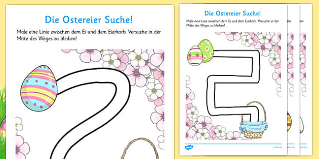 Easter Hunt Pencil Control Path Worksheets German - german, pencil control, easter, hunt