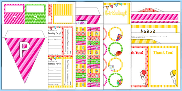 7th Birthday Party Pack - 7th birthday party, 7th birthday, birthday party, pack