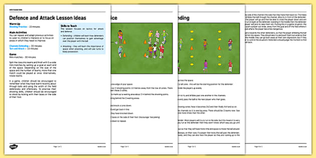 UKS2 Football Skills 7 Defence and Attack Lesson Pack - football, PE, sport, exercise, KS2, UKS2, Key Stage 2, year 5, year 6, skills, physical education, ball skills, team sports