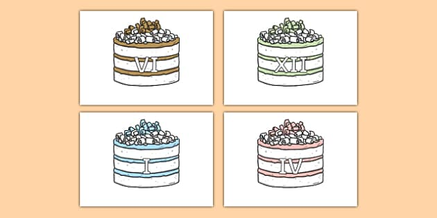 Roman Numerals on Birthday Cakes - roman numerals, birthday cakes, display