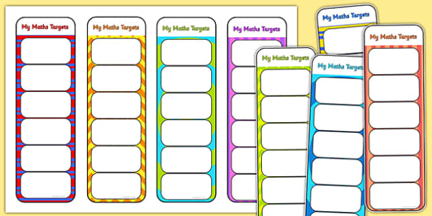 My Maths Targets Bookmarks - assessment, target, numeracy, math