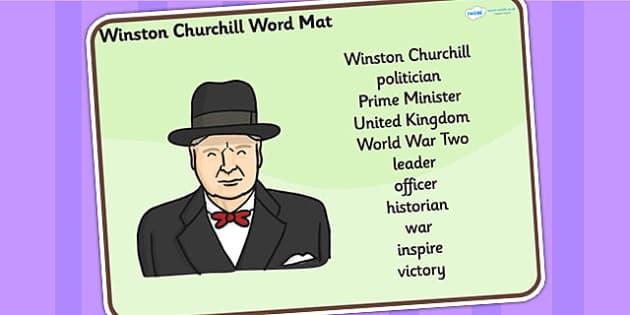 Winston Churchill Word Mat - winston churchill, word mat, topic words, topic mat, themed word mat, writing aid, mat of words, key words, keywords, mats