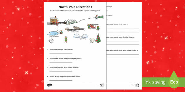 KS1 North Pole Direction Activity Sheet - Christmas, Nativity, Jesus, xmas, Xmas, Father Christmas, Santa, compass, directions, north, south,