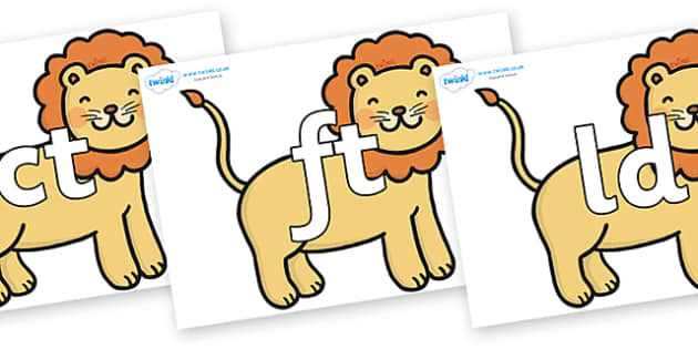 Final Letter Blends on Lions - Final Letters, final letter, letter blend, letter blends, consonant, consonants, digraph, trigraph, literacy, alphabet, letters, foundation stage literacy