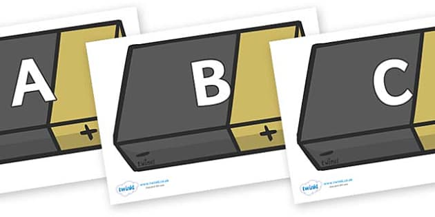 A-Z Alphabet on Battery - A-Z, A4, display, Alphabet frieze, Display letters, Letter posters, A-Z letters, Alphabet flashcards