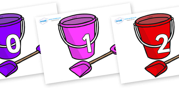 Numbers 0-31 on Spade and Buckets - 0-31, foundation stage numeracy, Number recognition, Number flashcards, counting, number frieze, Display numbers, number posters