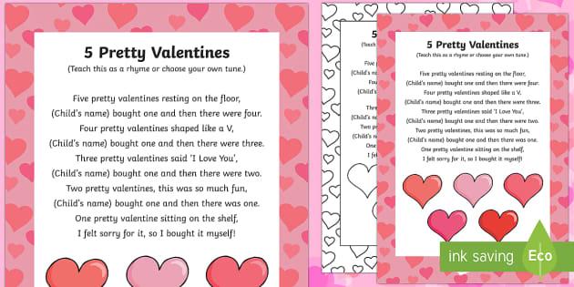 Five Pretty Valentines Rhyme - Valentine's day, love, hearts, friend