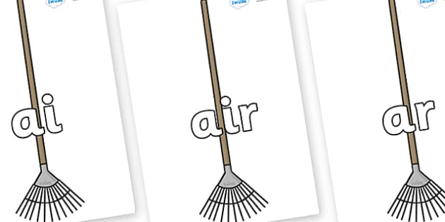 Phase 3 Phonemes on Garden Rakes - Phonemes, phoneme, Phase 3, Phase three, Foundation, Literacy, Letters and Sounds, DfES, display