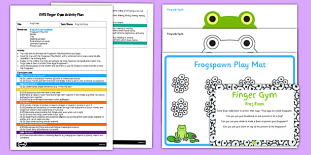 EYFS Frog Foam Finger Gym Plan and Resource Pack - frogspawn, soap