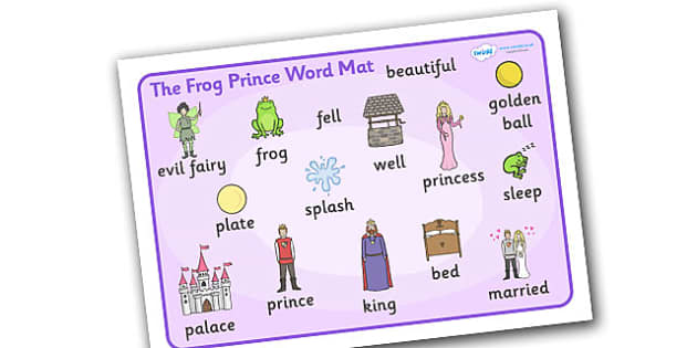 The Frog Prince Word Mat - Frog, princess, prince, evil fairy, splash, kiss, well, word mat, writing aid, mat, king, bed, sleep, golden ball, beautiful, fell, plate, palace, traditional tale, story, book, story resources