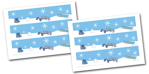 Winter Display Borders - Display border, classroom border, border,  Arctic, winter, xmas, display poster, A4, display, skis, ice skates, polar bear, whale, penguin, huskey, snow, winter, frost, cold, ice, hat, gloves