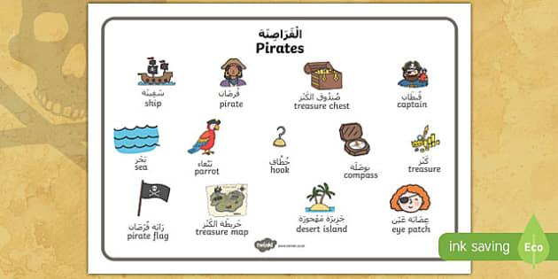 Pirate Word Mat Arabic Translation