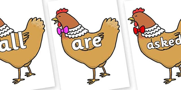 Tricky Words on Henny Penny - Tricky words, DfES Letters and Sounds, Letters and sounds, display, words