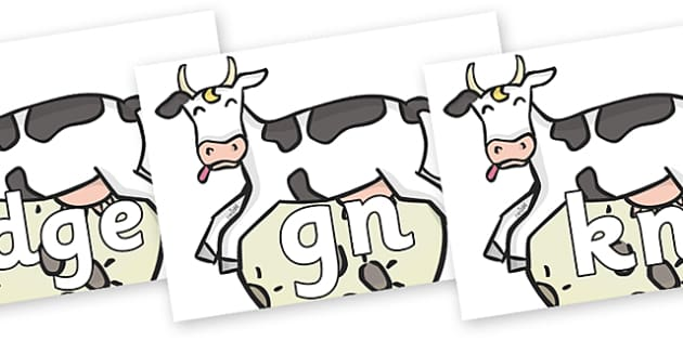Silent Letters on Cow and Moon - Silent Letters, silent letter, letter blend, consonant, consonants, digraph, trigraph, A-Z letters, literacy, alphabet, letters, alternative sounds