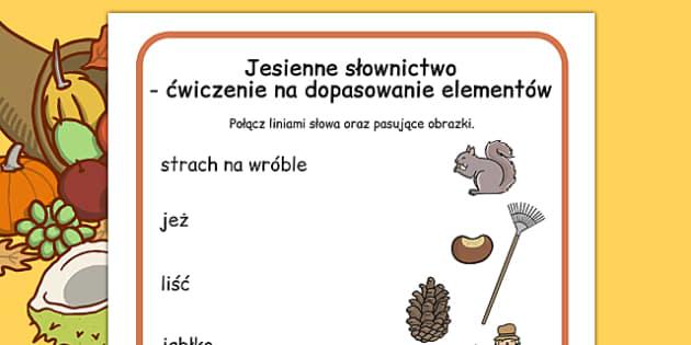 Ćwiczenie na dopasowanie elementów Jesień po polsku - szkoła , Polish