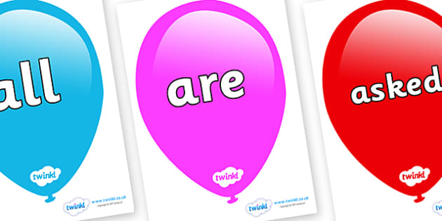 Tricky Words on Balloons - Tricky words, DfES Letters and Sounds, Letters and sounds, display, words
