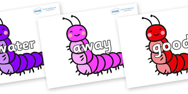 Next 200 Common Words on Caterpillars - Next 200 Common Words on  - DfES Letters and Sounds, Letters and Sounds, Letters and sounds words, Common words, 200 common words