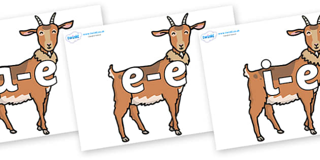 Modifying E Letters on Medium Billy Goats - Modifying E, letters, modify, Phase 5, Phase five, alternative spellings for phonemes, DfES letters and Sounds