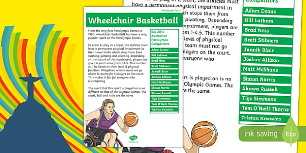 Rio Paralympics 2016 Wheelchair Basketball Display Poster