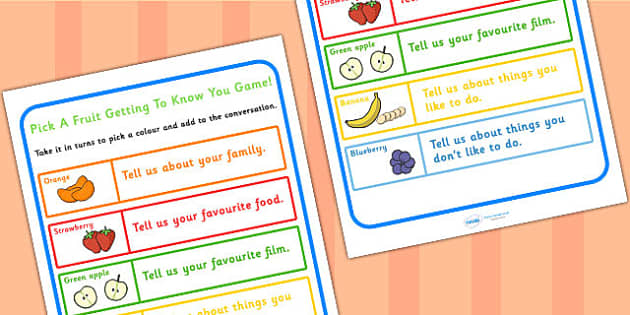Friendship Pick A Fruit Getting To Know You Game - SEN games